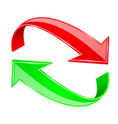 Red and green 3d arrows recycle sign vector