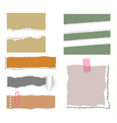ripped note paper set vector image