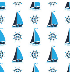 sailing boat on the waves captains wheel vector image