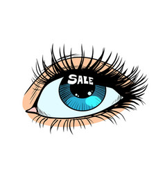 sale highlight in a woman eye vector image