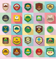 scout badge emblem stamp icons set flat style vector image