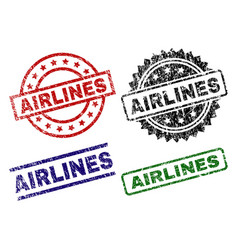 Scratched textured airlines stamp seals vector