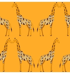 Seamless beautiful adult Giraffe in half-face vector image