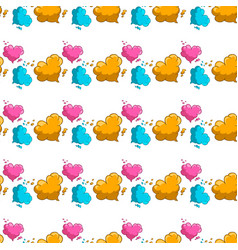 seamless pattern with cartoon clouds in heart form vector image