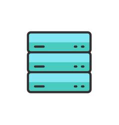 server data web hosting flat color line vector image