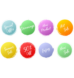 Set color circle brush stroke with handwritten vector