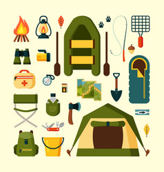 set equipment for camping tourism vector image