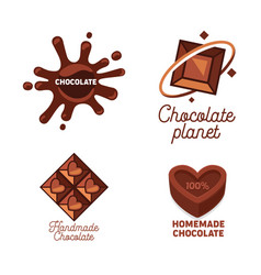 set homemade kraft and handmade chocolate vector image