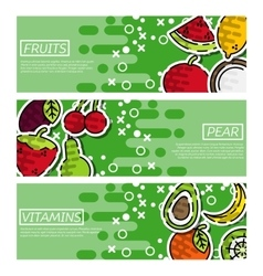 Set of Horizontal Banners about fruits vector
