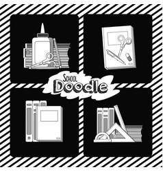 set of school doodle cards vector image