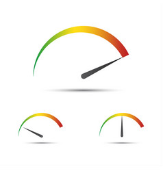 set of simple tachometer with indicators vector image