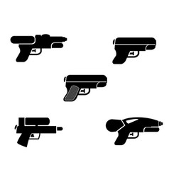 Set of water gun icons in silhouette style vector