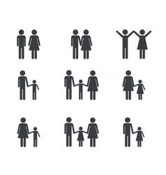 Set pictogram family member group vector