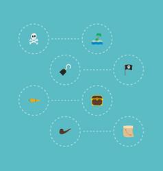 set piracy icons flat style symbols vector image