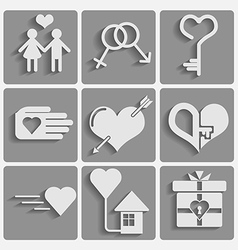 Set valentine day icons vector image