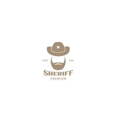 Sheriff police head man with beard vintage logo vector
