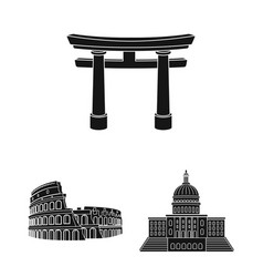 Sights of different countries black icons in set vector
