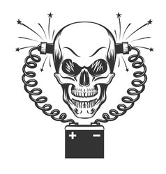 Smilling skull and car battery vector