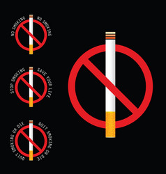 stop smoking sign on black background vector image