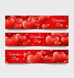three valentines day horizontal banners with red vector image