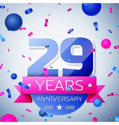 Twenty nine years anniversary celebration on grey vector