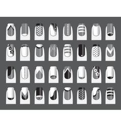 Various of nail designs vector