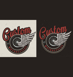 Vintage custom motorcycle colorful badge vector
