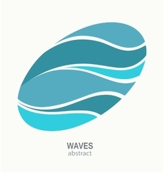 Water Wave Logo abstract design Oval aqua icon vector