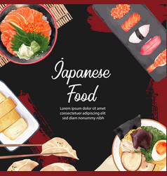 Watercolor design with various japanese plates vector