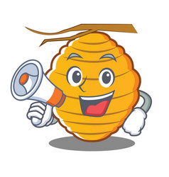 With megaphone bee hive character cartoon vector