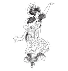 Woman dancing shot at night vintage engraving vector