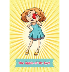 Woman holding an apple vector image