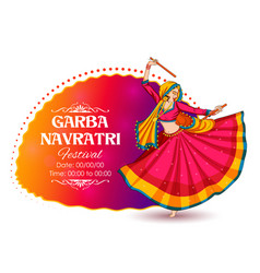 Woman playing dandiya in disco garba night banner vector