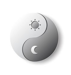 Yin-yang taoism symbol paper cutting art vector