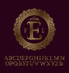 Zigzag striped gold letters and initial monogram vector