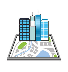 buildings town on the map navigator destination vector image