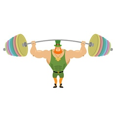 Leprechaun and barbell sports Bench press barbell vector image