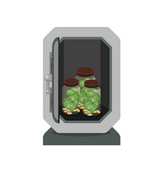 metal strong box with coins and glass bottles with vector image vector image