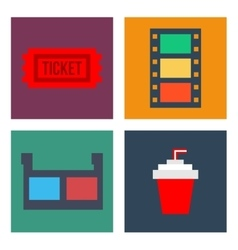 Movie cinema icons flat style vector