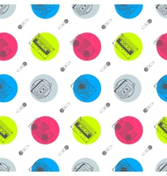 Music flat line retro seamless pattern with vector image