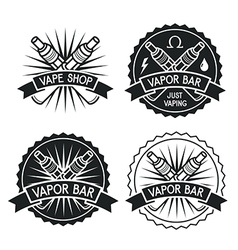 Vape shop and bar emblems vector image vector image