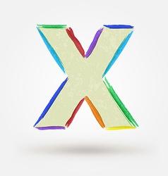 Alphabet letter X Watercolor paint design element vector image
