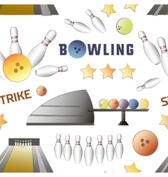 Bowling icons set pattern vector