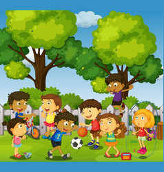 children playing games and sports in park vector image vector image