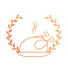 dish with chicken isolated icon vector image