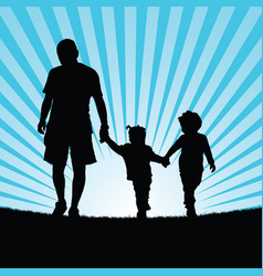 Family walking in nature silhouette color vector