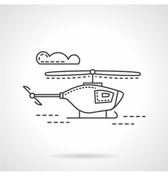 Flat line military copter icon vector image
