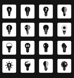 lamp logo icons set squares vector image vector image