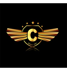 Letter c winged crests logo alphabet logotype vector
