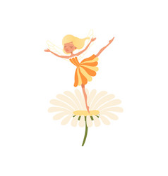 beautiful blond fairy dancing on daisy flower vector image vector image
